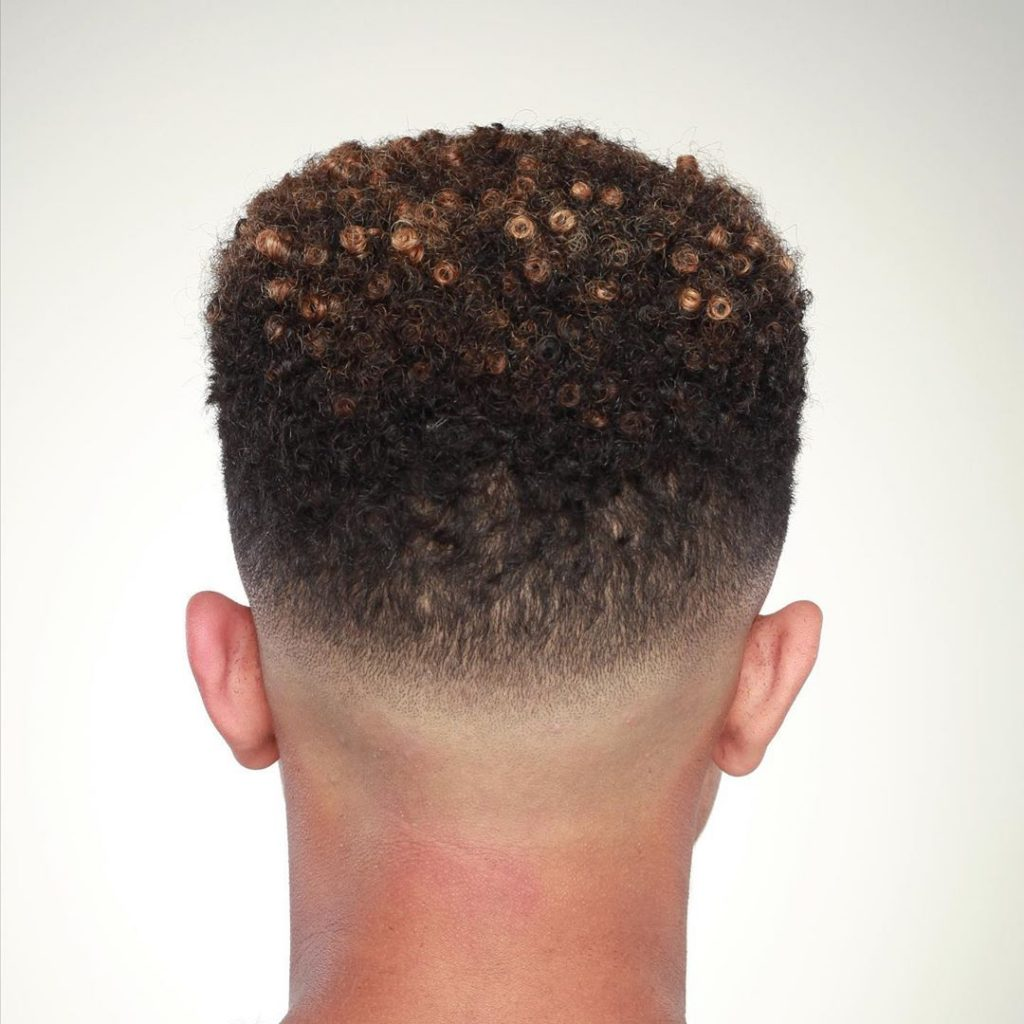 Short curly bald fade haircut