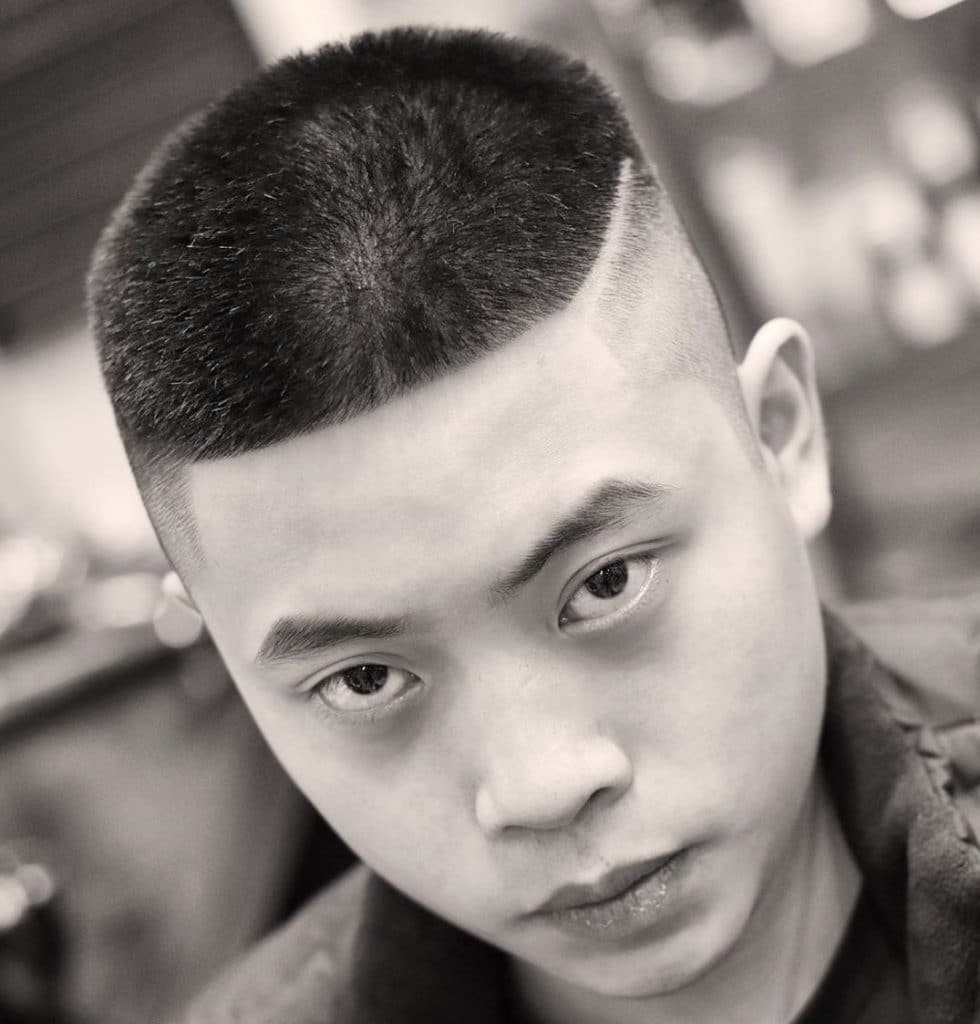 Skin fade haircut with line