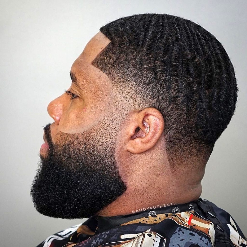 Taper fade haircut with waves