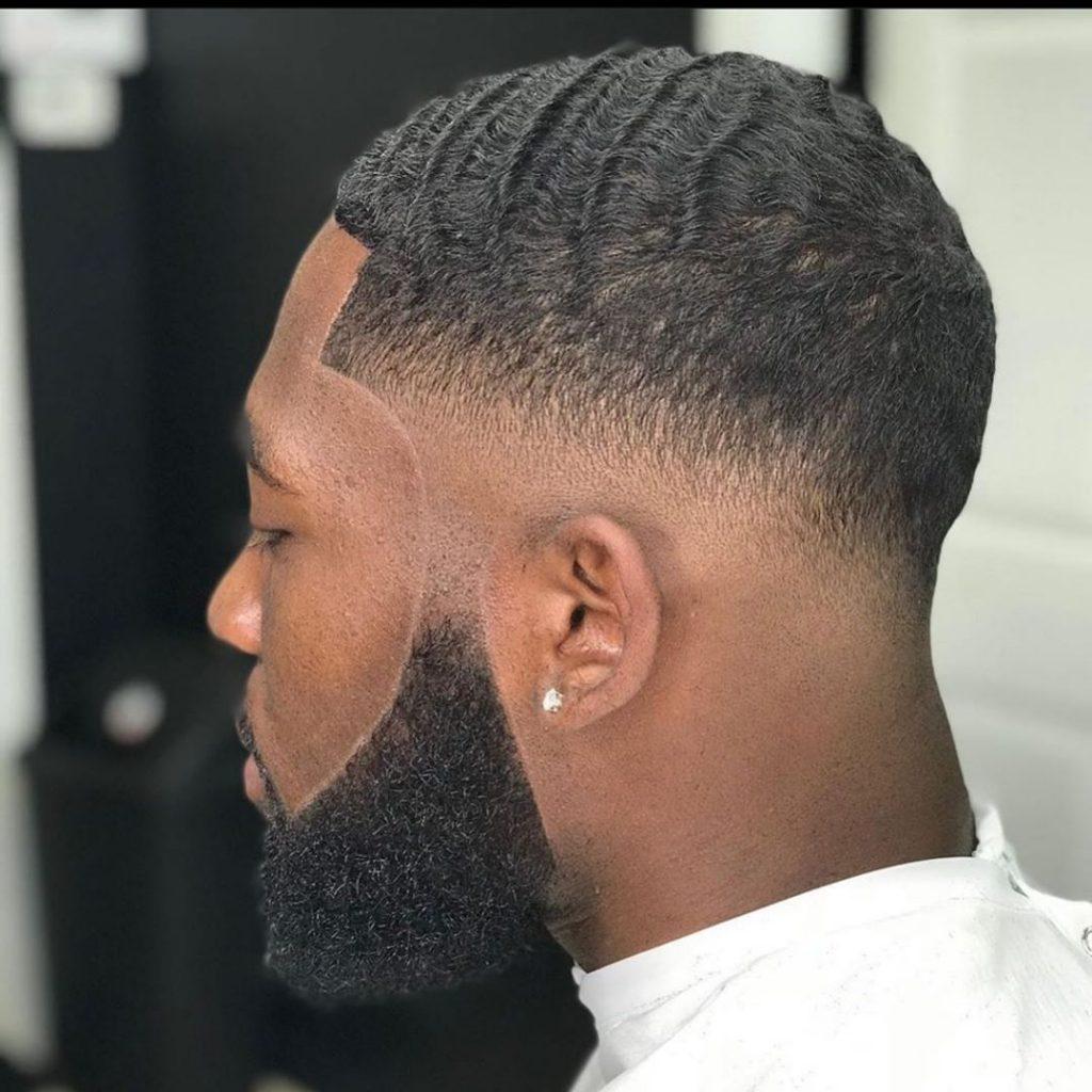 180 waves haircut with beard