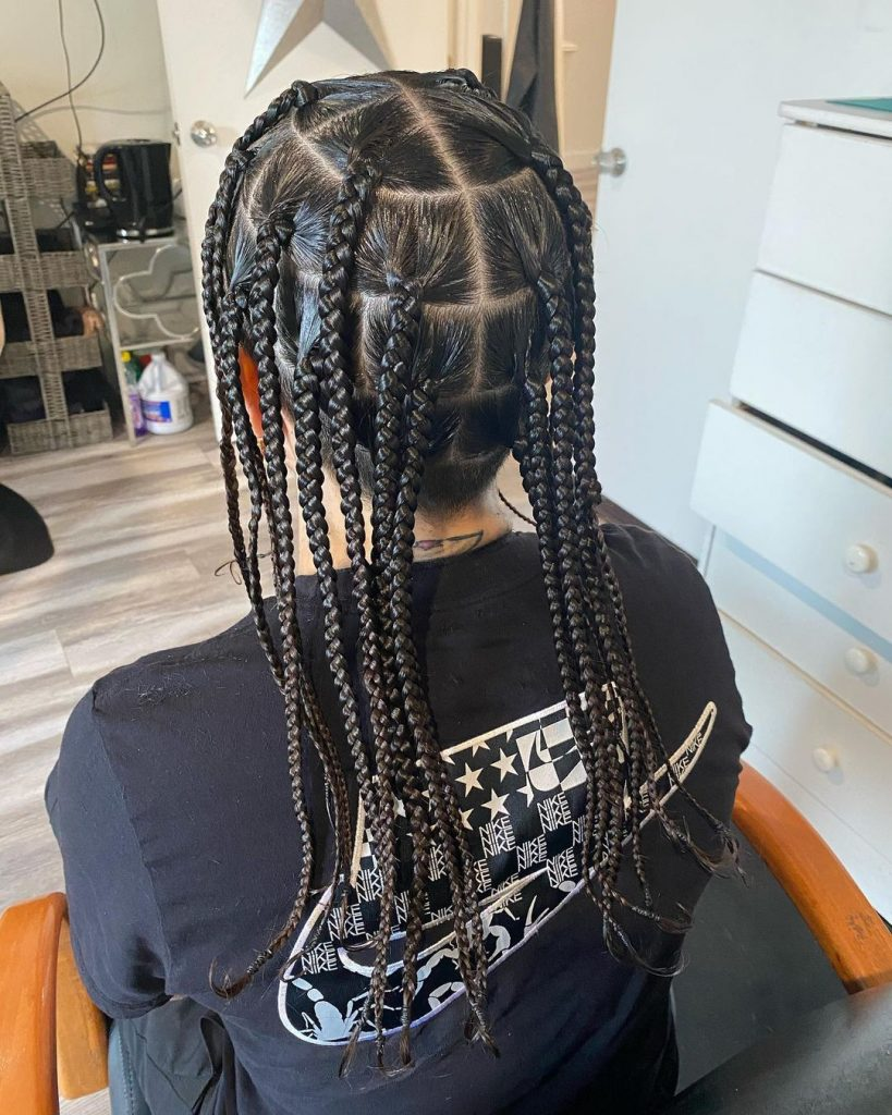 Caucasian box braids men