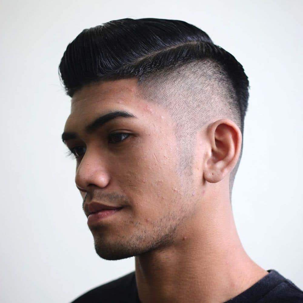 High fade comb over haircut for Asian hair