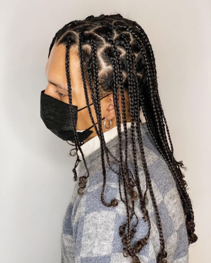 Natural box braids for men