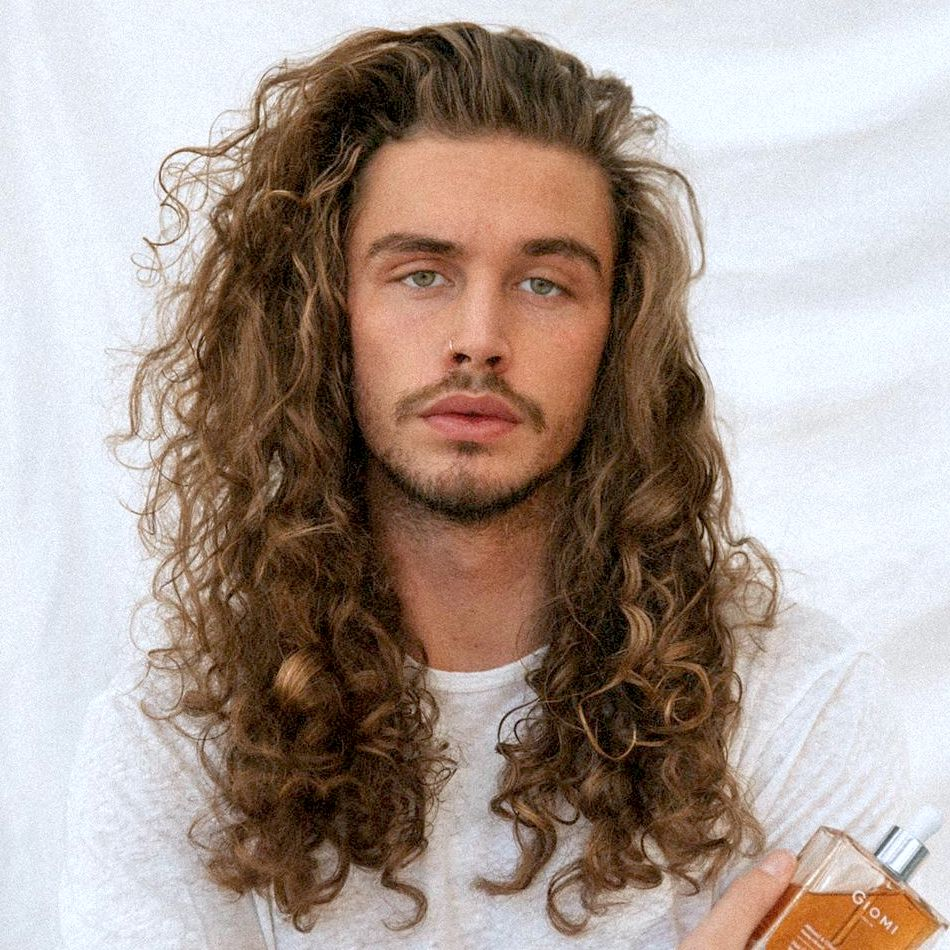 Long wavy curly hair men