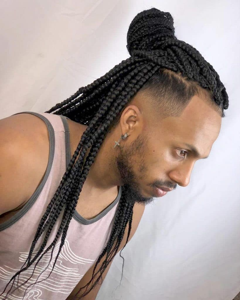 Mens box braids with fade