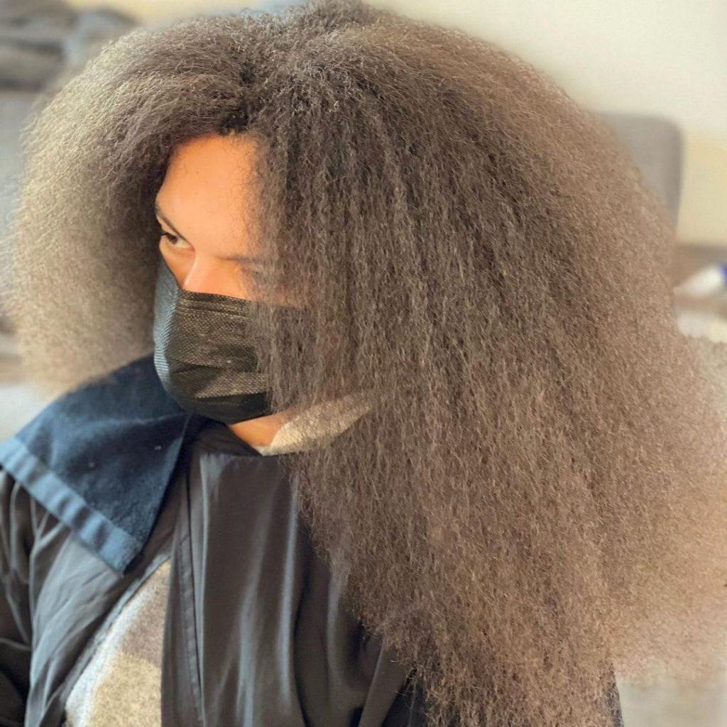 Natural hair before box braids for men