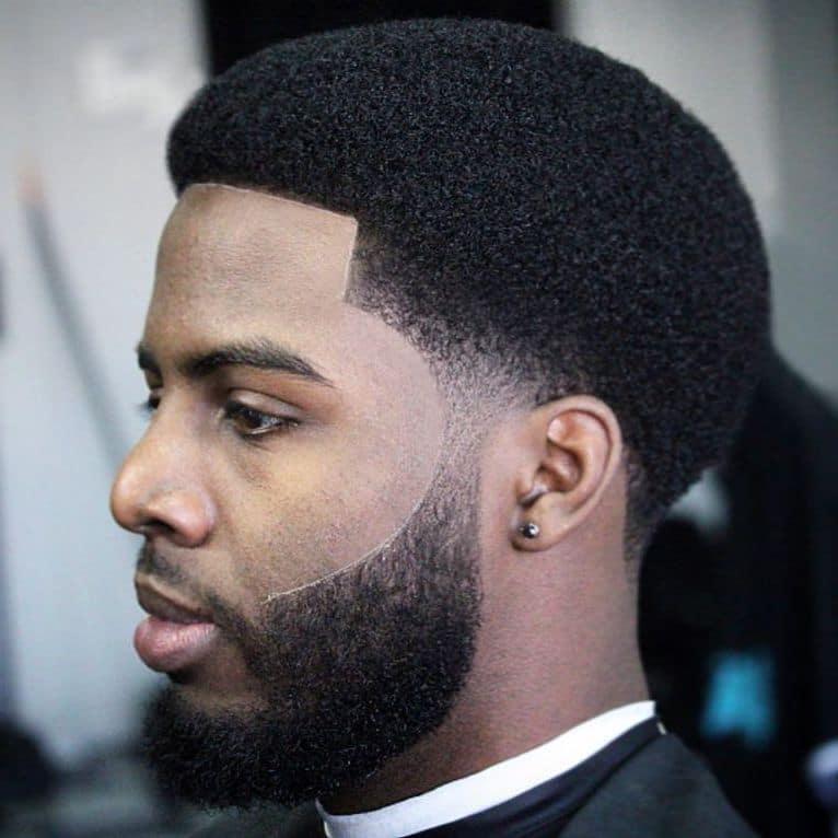 Black short afro taper fade cut