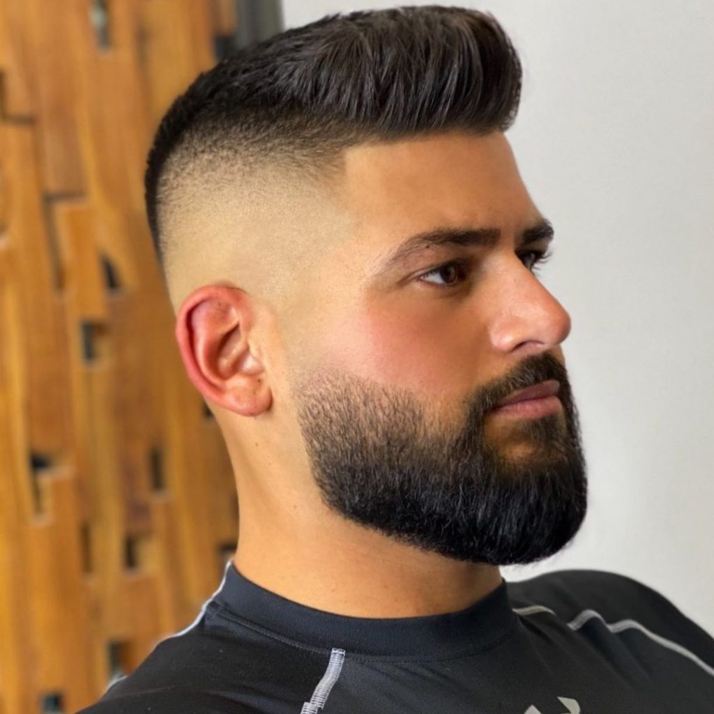 High fade haircut with beard