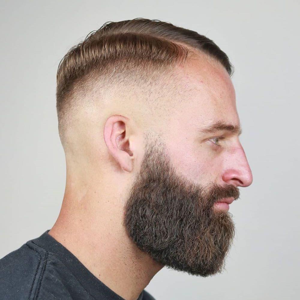 High skin fade with beard