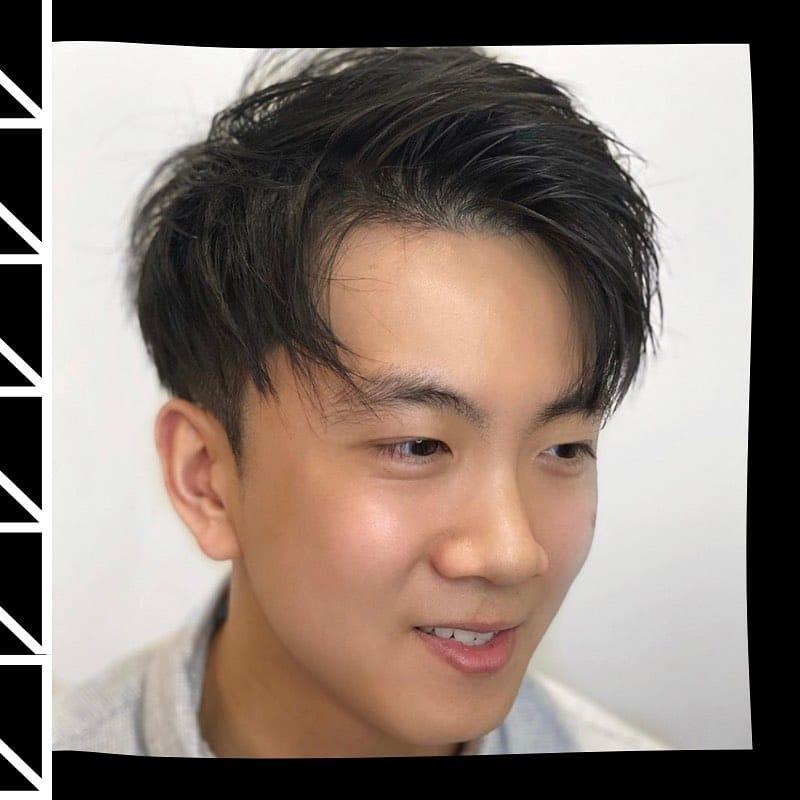 Curtain bangs for Asian men