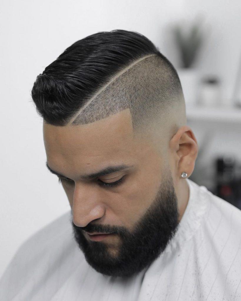 Undercut fade haircut with beard
