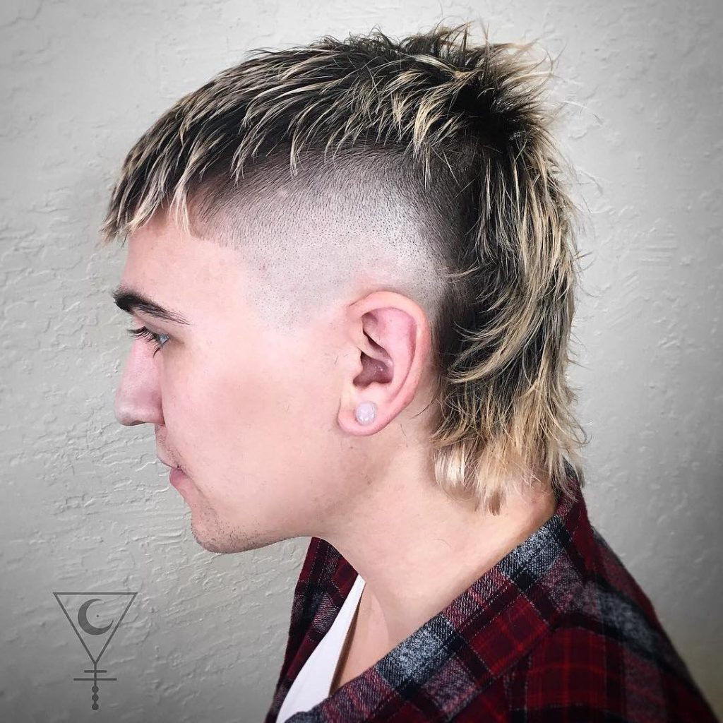 Punk mohawk mullet haircut