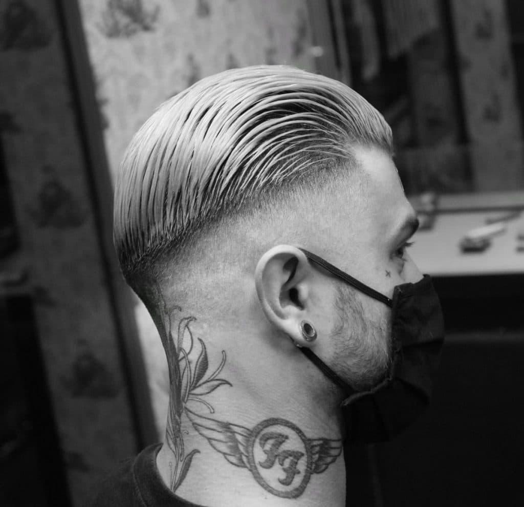 Slick back fade haircut