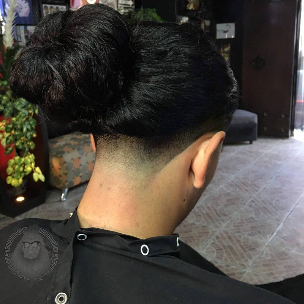 Low undercut for long hair men