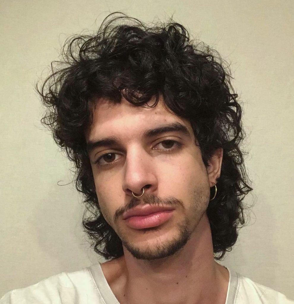 Curly shag haircut men