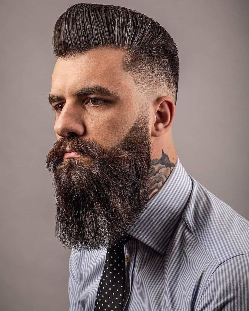 Fade haircut with beard