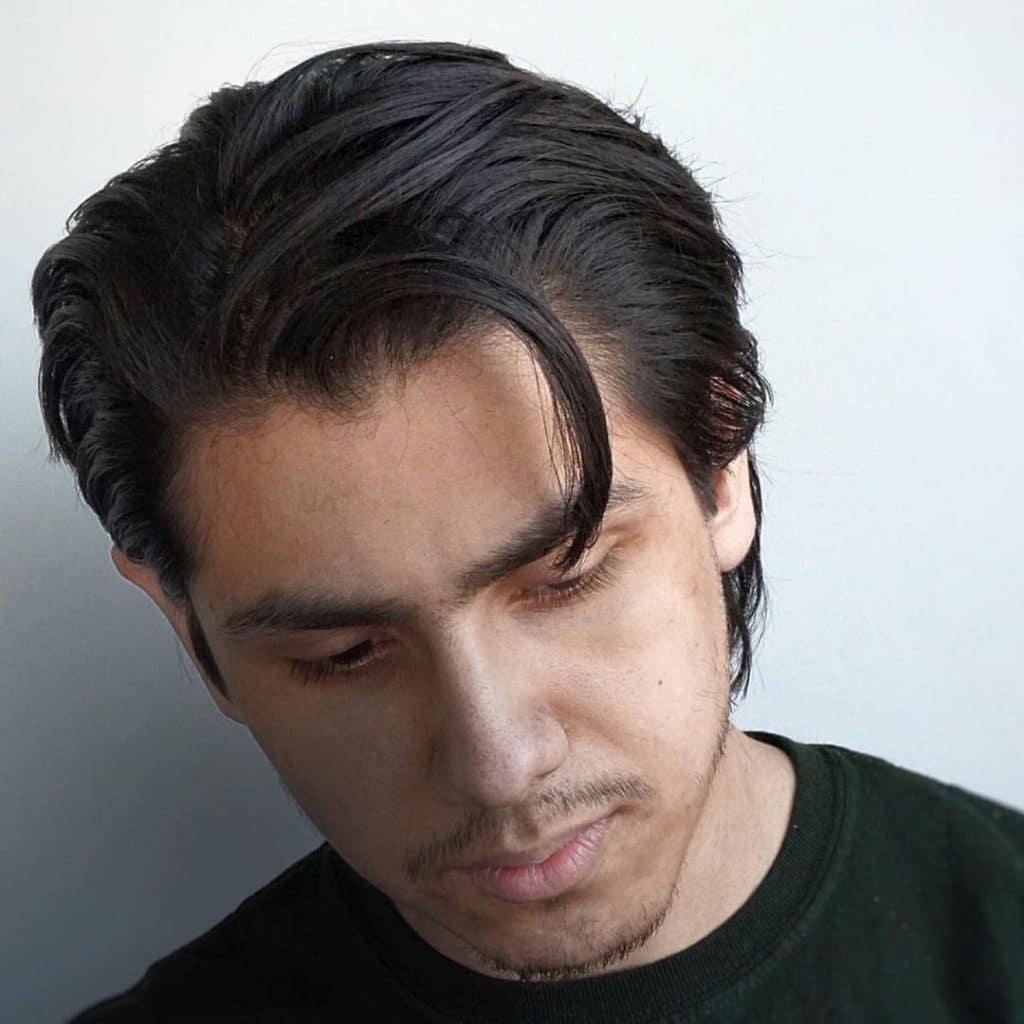 Loose slicked back hair for men