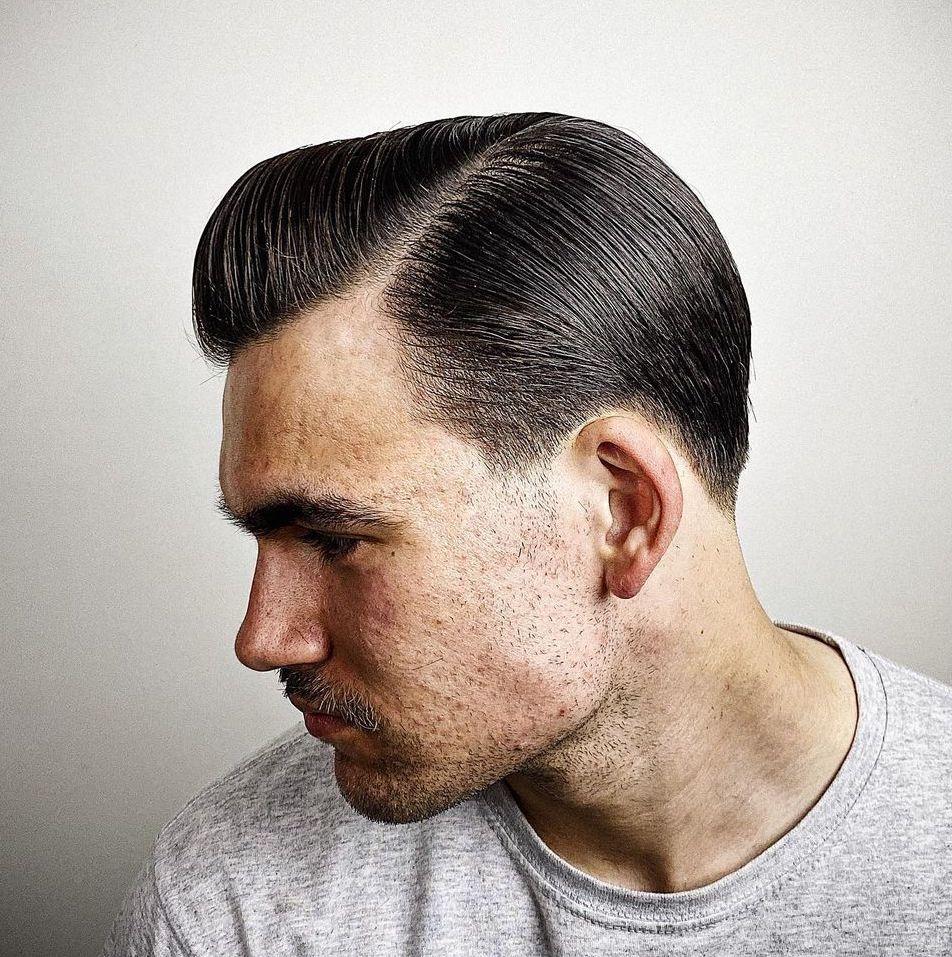 Medium length hair men side part