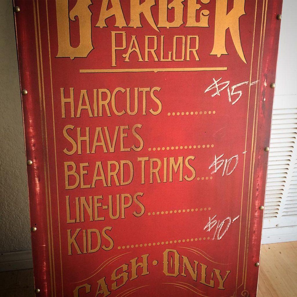 Barber menu