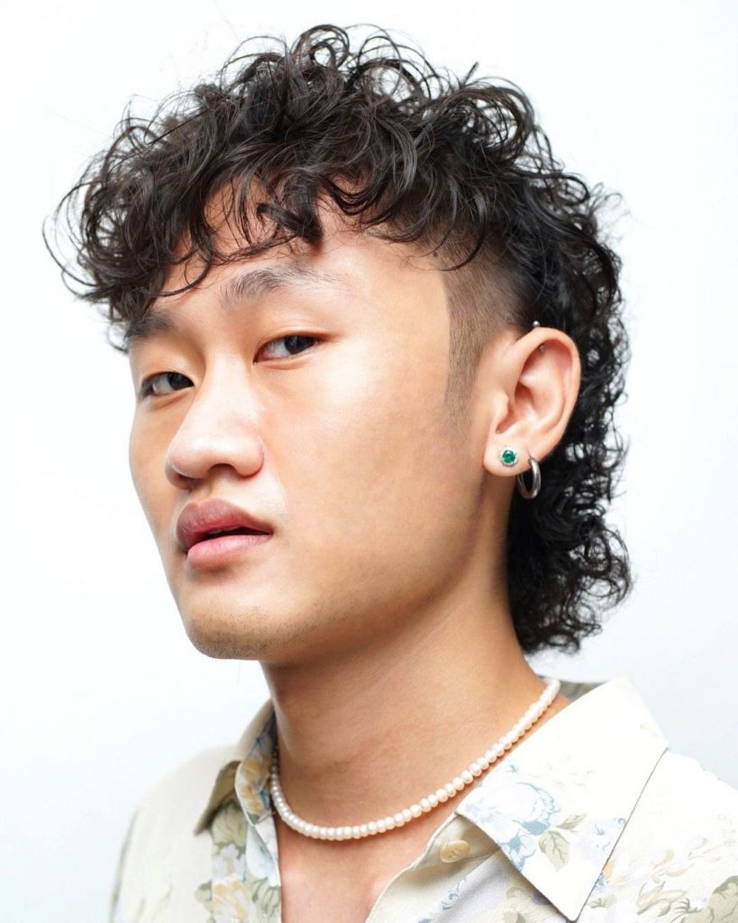 Permed curly mullet Asian men