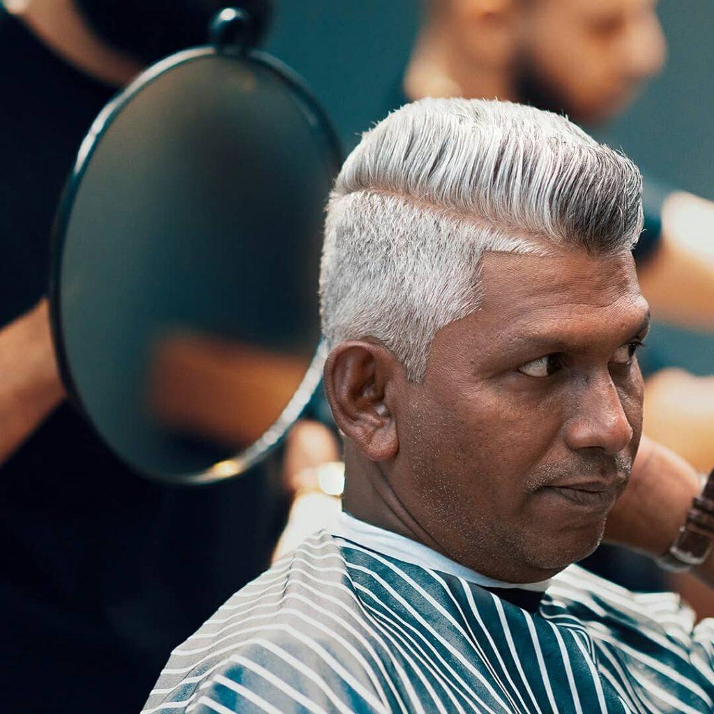 Older man haircut white hair
