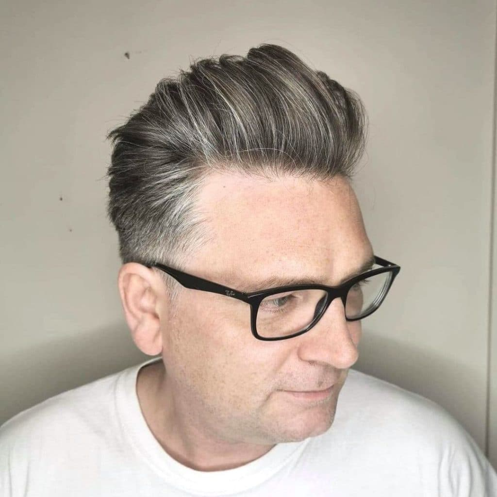 Modern pompadour for grey hair men