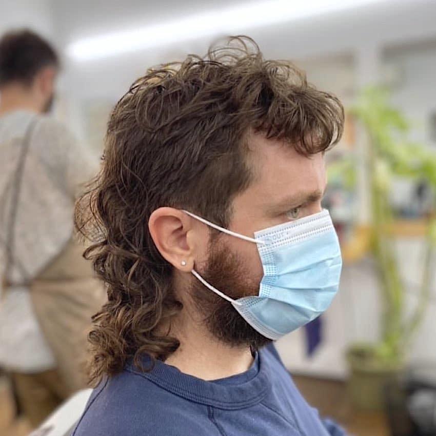 Long curly mullet hair men