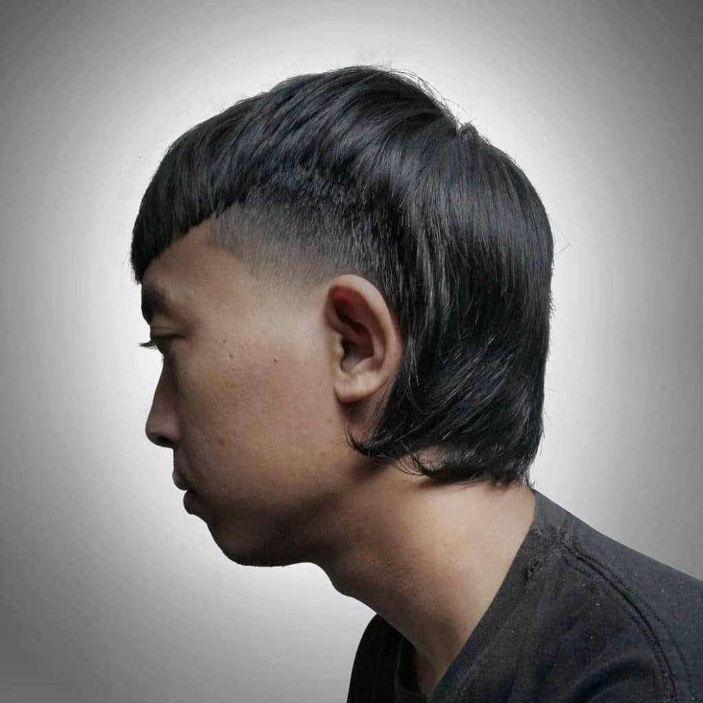 Temp fade mullet for Asian men