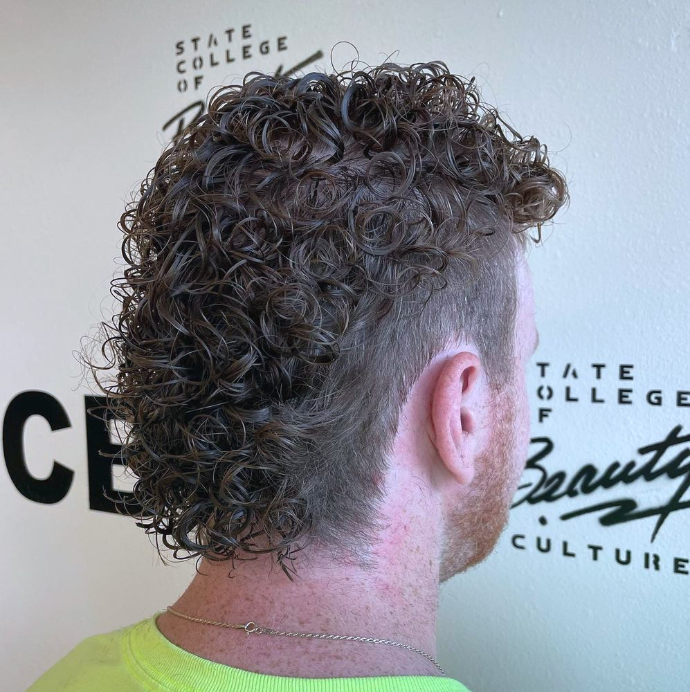 Permed mullet with fade