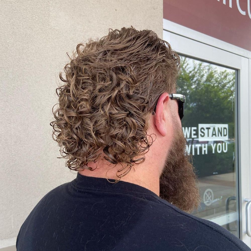 Permed mullet with beard