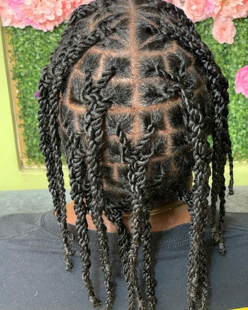 Long two strand twists Black men